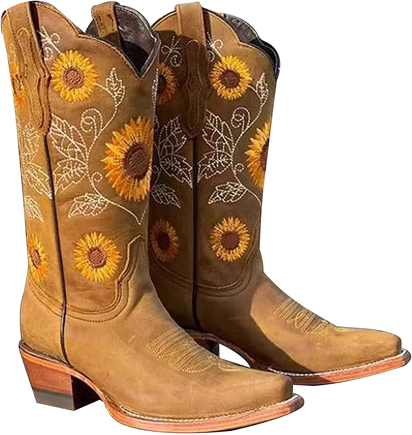 Western Boots for Women Sunflowers Embroidery Cowgirl Boots Mid Calf Chunky Heel Retro Square Toe Cowboy Boots