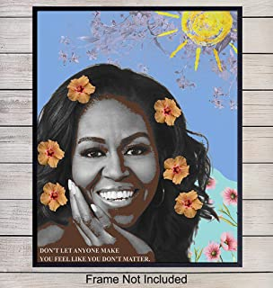 Michelle Obama Inspirational Quote Contemporary Pop Art Home Decor - Motivational Modern Wall Art Poster Print for Bedroom, Living Room, Office - Great Gift for Women, Woman, Her, Wife