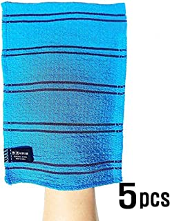 Songwol Korean Exfoliating Towel Large Viscos Bath WashCloth Scrub Gloves 5 pcs – Blue