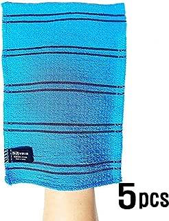 Songwol Korean Exfoliating Towel Large Viscos Bath WashCloth Scrub Gloves 5 pcs – Blue