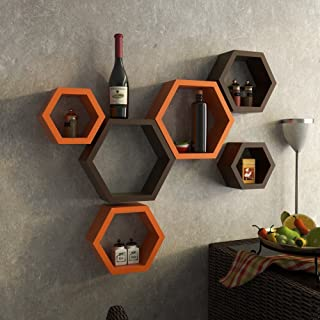 Dime Store Wall Mount Wall Shelf Storage Display Floating Shelf for Home and Room Decor Items Hexagon Shape (Set of Six, O...