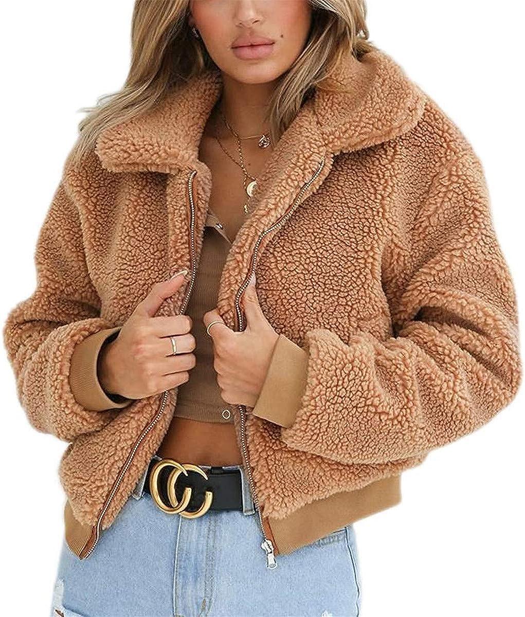 Women Casual Fuzzy Sherpa Coats Warm Fluffy Jacket with Fleece Lined Crop top Zipper Faux Jacket Outwear