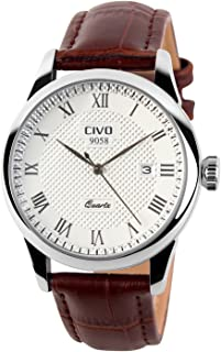 CIVO Mens Watches Leatehr Waterproof Watch Men Roman Numeral Date Calendar Simple Design Wrist Watches Casual Business Dress Fashion Classic Analogue Quartz Watches for Men