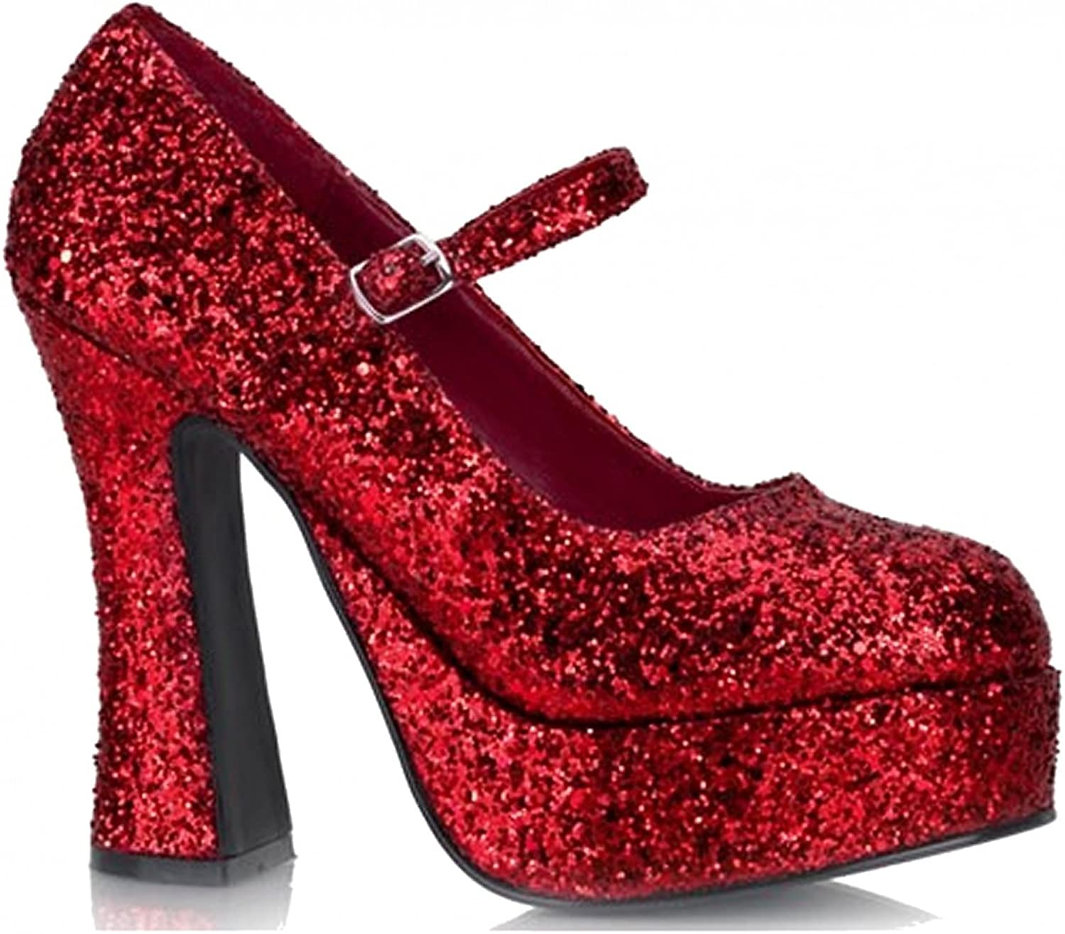5 Inch Women's Sexy Mary Jane shoes Mid Platform Chunky Heel Glitter Covered