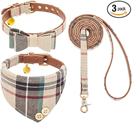 Bow Tie Dog Collar and Leash Set | Amazon