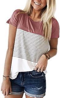 eae0da6d ZAWAPEMIA Womens Striped Tshirt Triple Color Block Short Sleeve Casual  Blouse