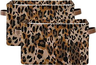 Tropicallife F17 Lot de 2 paniers de rangement pliables en toile avec poignée Motif léopard