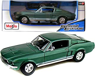 Maisto Year 2014 Special Edition Series 1:18 Scale Die Cast Car Set - Metallic Green Color Classic Coupe 1967 FORD MUSTANG GTA FASTBACK with Display Base (Car Dimension: 10