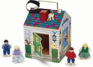 Melissa & Doug Take-Along Wooden Doorbell Dollhouse - Doorbell Sounds, Keys, 4 Poseable Wooden Dolls