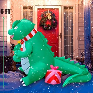 SEASONBLOW 6 FT LED Light Up Christmas Inflatable Dinosaur Decoration Self Inflatable LED Light Up Blow Up Giant Decor for Yard Xmas Holiday Indoor Outdoor Garden Party
