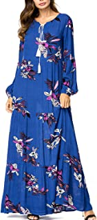 Kaftan Maxi Long Sleeve Floral Print Casual Dress Long Flowy Dress Long Gown Loose Long Dress