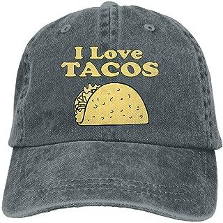 I Love Tacos Adults Adjustable Cowboy Cap Denim Hat for Outdoor