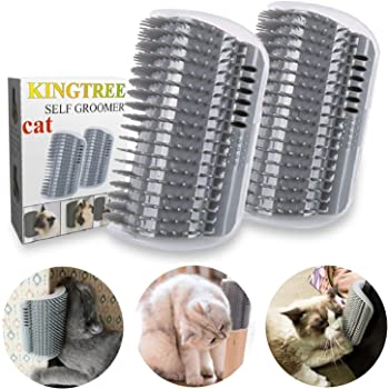 Kingtree Cat Self Groomer, 2 Pack Wall Corner Groomers Soft Grooming Brush Massage Combs for Short Long Fur Cats, Softer Massager Toy for Cat Puppy