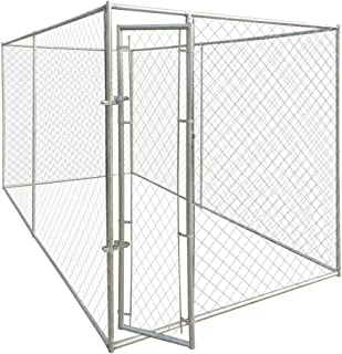 Tidyard 13'x6' Outdoor Dog Kennel with Chain-Link Mesh Sidewalls, Lockable Latch System for Dogs