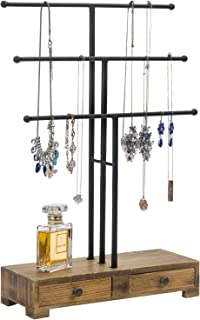 MyGift 3-Tier Black Metal T-Bar Jewelry Necklace Display Stand with Wooden Base & Ring Drawers