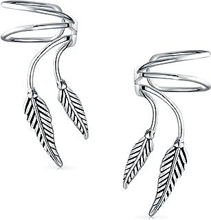2 Leaf Feather Cartilage Ear Cuffs Clip Wrap Wire Earrings Helix For Women For Men Non Pierced Ear 925 Sterling Silver