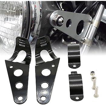 Nero Staffe di Montaggio per Moto Universale 39mm KKmoon Staffe Faro 51mm Staffe Montaggio Faro Fork Ear Moto