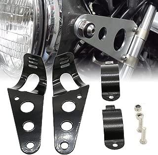 Frenshion Compatible for 35-43mm Motorcycle Headlight Lamp Mount Fork Bracket Black Universal for Chopper Bobber Street Bike Cafe Racer Harley Davidson