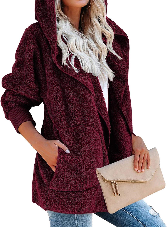 MAYAMANG Womens Max 69% OFF Long Sleeve Fuzzy Open Cardi Fleece Front Luxury Hooded