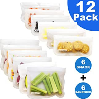 Set of 12 Reusable Storage Bags - Rezip Ziploc Freezer Bags (6 Reusable Sandwich Bags + 6 Reusable Snack Bags) BPA Free Extra Thick Leakproof Silicone Food Storage Stasher Bag Made For Multiple Usages