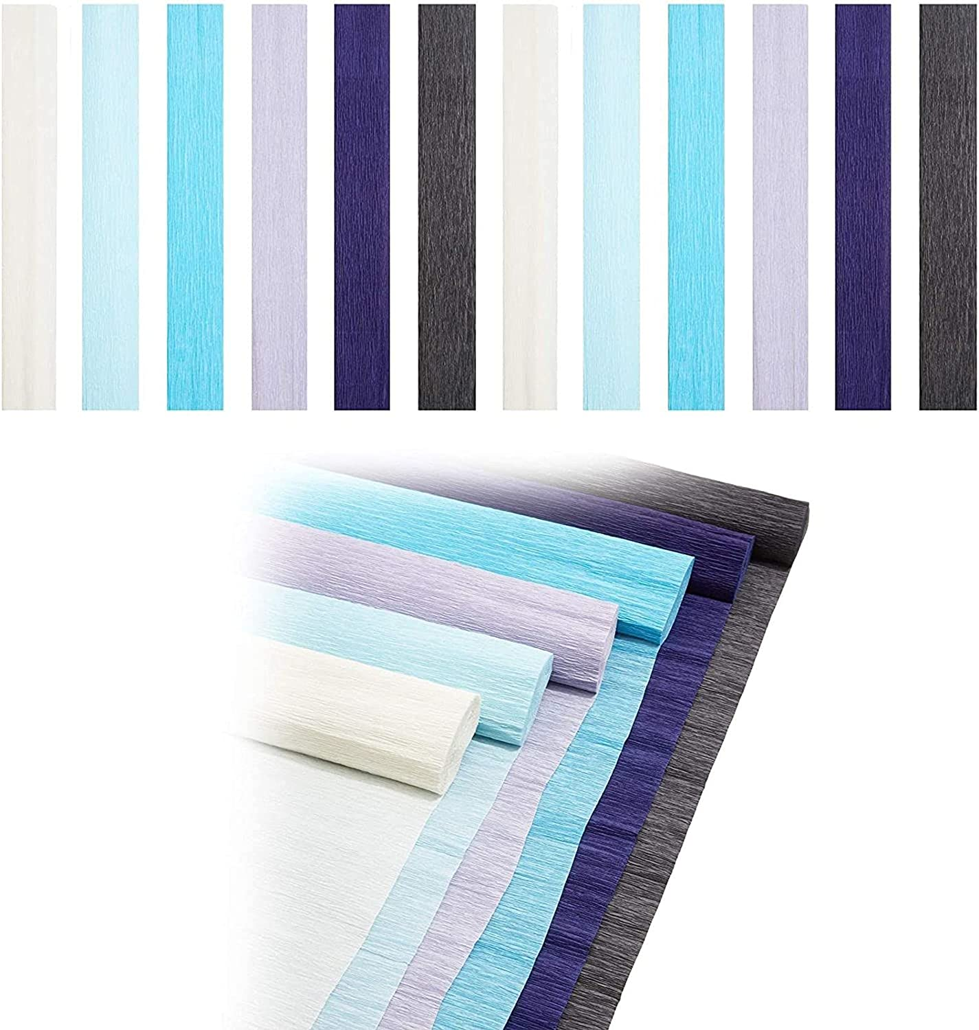 Decorative Crepe Paper Rolls for DIY Crafts, 6 Colors (16.5 in x