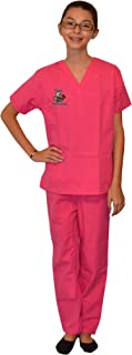 Pink Kids Scrubs with Veterinarian Animals Embroidery Design
