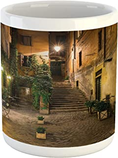 Ambesonne Italian Mug, Old Courtyard Rome Italy Cafe Chairs City Historic Houses in Street, Ceramic Coffee Mug Cup for Water Tea Drinks, 11 oz, Orange Brown
