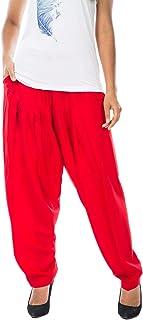 سروال حريمي من ladyline مصنوع من الحرير الصناعي مع جيب وخصر مرن إغلاق سروال هندية لليوغا