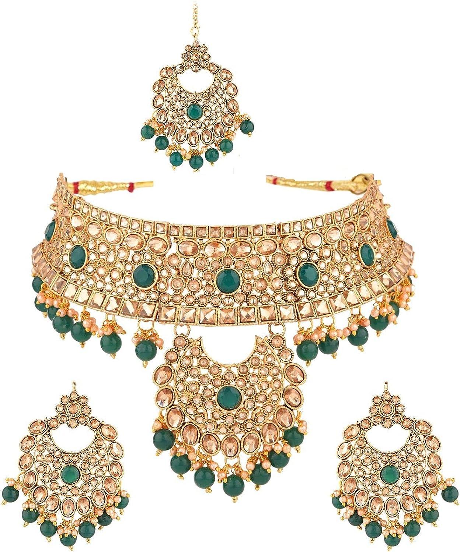 Efulgenz Indian Jewelry Choker Crystal Faux Pearl Kundan Necklace Earrings Maang Tikka Head Chain Bollywood Wedding Bridal Jewelry Set