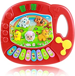 Popular Musical Instrument Toy Baby Kids Animal Farm Piano Developmental Music Toys for Children-Red