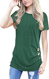 Women's Tops Short Sleeve Casual T-Shirts Tunic Tops Blouse S-XXL