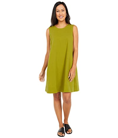 Eileen Fisher Organic Cotton Crepe Round Neck Dress (Mustard Green) Women
