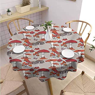 DILITECK Mushroom Kids Round Tablecloth Mushrooms Pattern Healthy Edible Autumn Jungle Trees Natural Organic Vegetable Printed Tablecloth Diameter 70