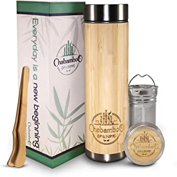 Bamboo Tumbler with Tea Infuser and Strainer   by CHABAMBOO   17oz Coffee and Tea Bottle   Vacuum Insulated Travel Tea Mug To Go   Tea Thermos and Tea Gift   with Loose Leaf Tea Steeper and Diffuser