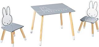 Roba Miffy - Juego de muebles infantiles (2 sillas y 1 mesa, madera, color gris oscuro, blanco lacado)