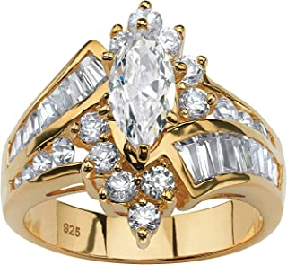 18K Yellow Gold over Sterling Silver Marquise Shaped and Baguette Cubic Zirconia Bypass Engagement Ring