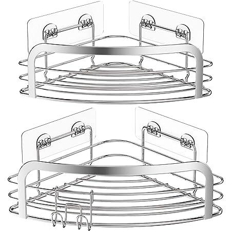 Avoalre Lot de 2 Etagère de Douche d'angle sans Perçage Etagère Salle de Bain Adhésif Acier Inoxydable Triangle Panier Rangement pour Shampoing Savon avec Crochets