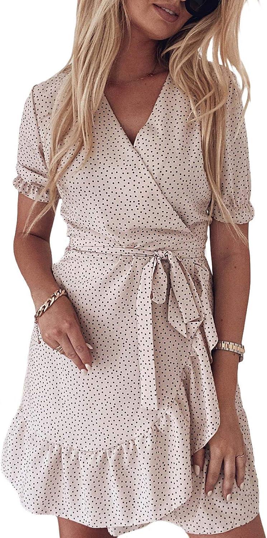 Ecrocoo Women's Mini Dress Casual V Neck Summer Beach Dress Loose Flowy Swing Shift Cute Dot Wrapped Dresses