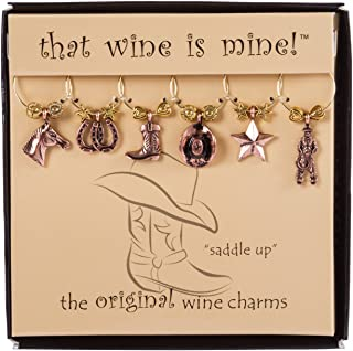 Wine Things WT-1621 Saddle Up Wine Charms, Fits neatly around stem, Multi-Color