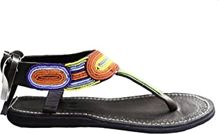 perfection in progress Bohemian Sandals, Flat Comfy Leather Jeweled Ankle Strap Gladiators Maasai Sandals for Women