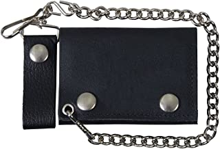 """Hot Leathers WLB1001 BLACK, 4"""" Classic Black Wallet with Chain (BLACK, 4"""")"""