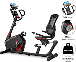 HARISON Magnetic Recumbent Exercise Bike Stationary with ipad Holder, Pulse Monitor, Adjustable Seat and Transport Wheels