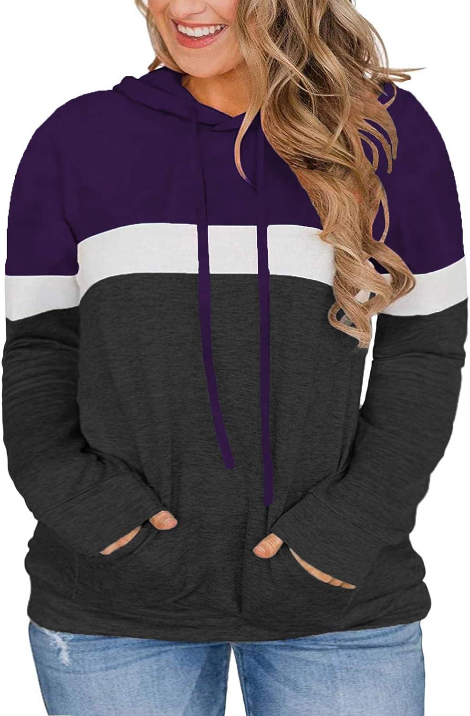VISLILY Women-Plus-Size-Hoodies-Sweatshirts Color Block Tops with Pockets XL-4XL