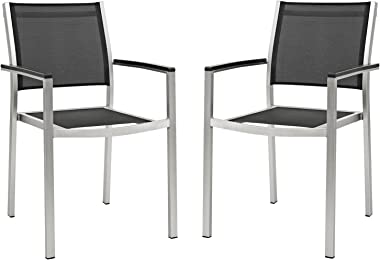 Modway Shore Aluminum Two Outdoor Patio Dining Arm Chairs in Silver Black