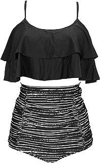 COCOSHIP Women's Retro Ruffled Bikini Set Straps Flounce Falbala Top Tiered Ruched High Waist Swimsuit(FBA)