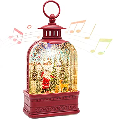 CaiFang Christmas Snow Globe Lantern with Music, Lighted Water Snow Globe 6H Timer Santa Glitter Lantern Lamp for Gifts and D