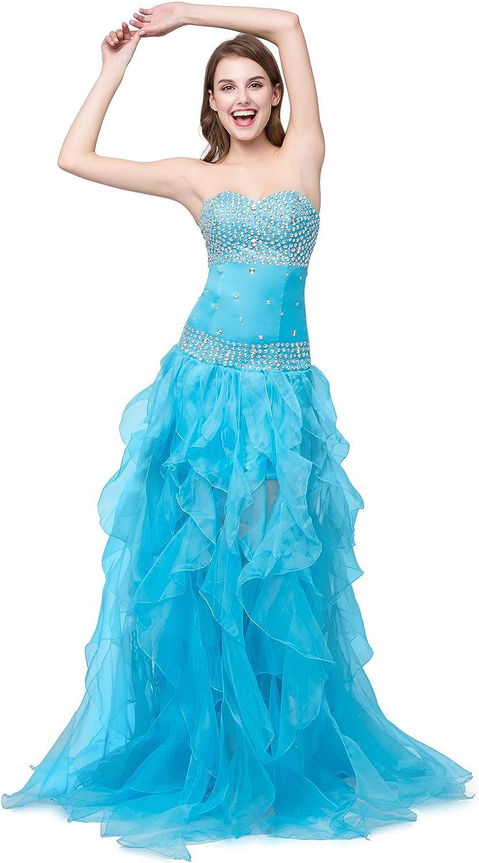 Heartfly Women's bluee High Low Prom Dresses Ruffle Skirt Rhinestone Formal Gown