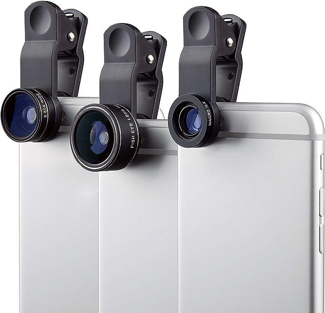 MyGadget Kit de Lentes para Móvil 3 en 1 Ojo de Pez 180° Gran Angular 0.65x y Macro 10x - para Tablet Smartphone Samsung Galaxy Apple iPhone Huawei Xiaomi