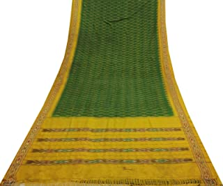 Indian Vintage Décor Green Sari Pure Patola Silk Fabric Ikat Printed Used Saree