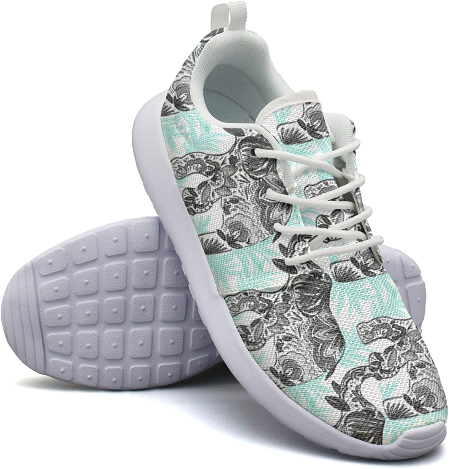 Palm Leaf bluee Elephants Women's Casual Sneakers Flat Athletic New Gym